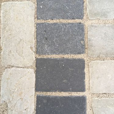 Kotah Black Tumbled Limestone Paving Cobble Setts