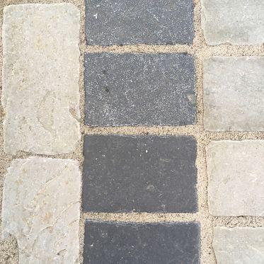 Kotah Black Tumbled Limestone Paving Cobble Setts