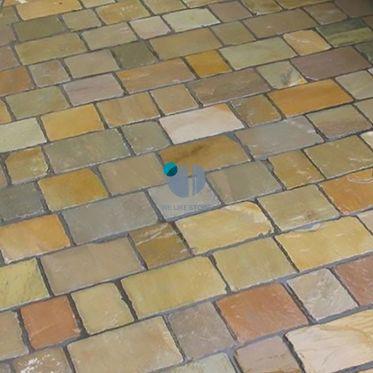 Raj Green Random Sandstone Paving Cobble Setts